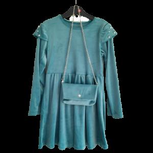 Veliūrinė suknele su rankinuku mergaitei