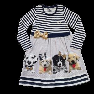 Trik0tažinė suknelė su šuniukais mergaitei