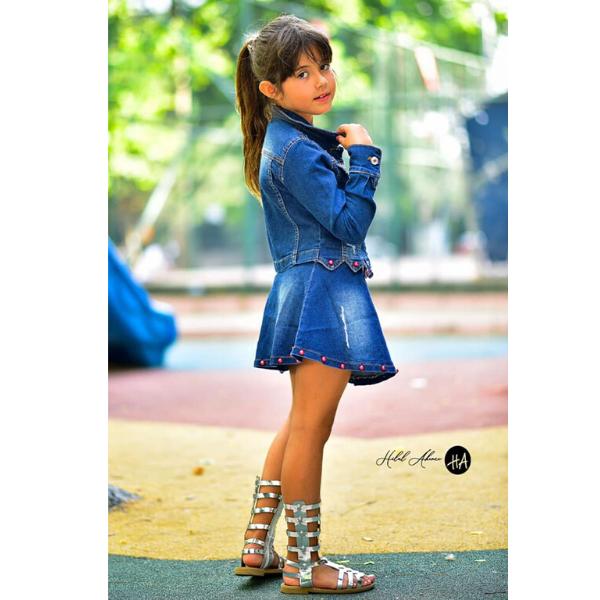 Dzinsinis kostiumelis mergaitei