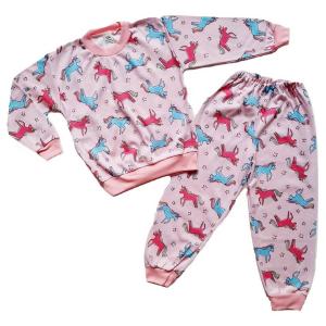 medvilninė, rausva pižama mergaitei su poniais