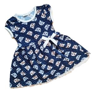 Trikotažinė suknelė trumpomis rankovėmis su katytėmis mergaitei su