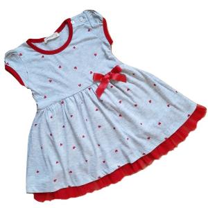 Trikotažinė suknelė rtumpomis rankovėmis su širdelėmis mergaitei su