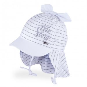 vasarine kepure mergaitei su snapeliu ir kaklo apsauga